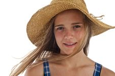 Free Cute Teen Girl In Straw Hat Royalty Free Stock Photo - 13991255