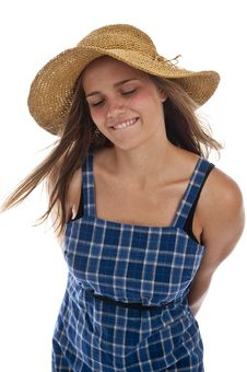 Free Cute Teen Girl In Straw Hat Stock Image - 13991271