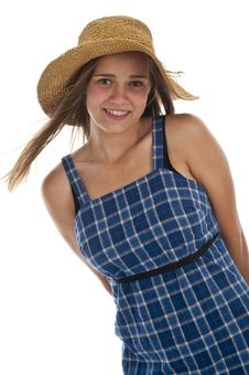 Free Cute Teen Girl In Straw Hat Royalty Free Stock Photo - 13991275