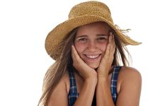 Free Cute Teen Girl In Straw Hat Royalty Free Stock Photography - 13991287