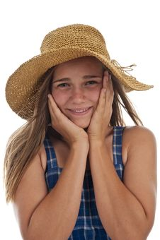 Free Cute Teen Girl In Straw Hat Royalty Free Stock Photo - 13991295