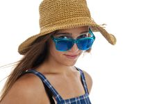 Cute Teen Girl In Blue Sunglasses Stock Images