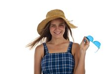 Free Cute Teen Girl Wtih Blue Sunglasses Stock Image - 13991311