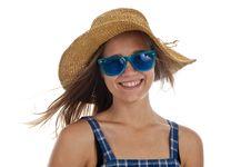 Cute Teen Girl In Blue Sunglasses Royalty Free Stock Photos