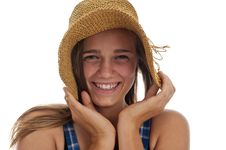 Free Cute Teen Girl In Straw Hat Stock Photos - 13991323