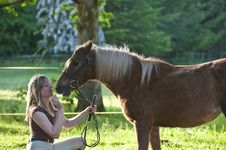 Free Woman And Shetland Pony Royalty Free Stock Images - 13991539