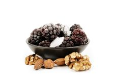 Frozen Blackberries And Nuts Royalty Free Stock Photography