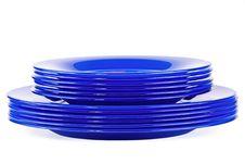 Free Dark Blue Plates Royalty Free Stock Image - 13993226