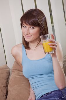 Free Woman With Orange Juice Stock Photos - 13994033