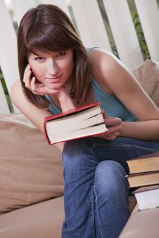 Free Young Woman With Book Stock Photography - 13994072