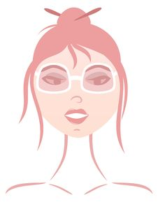 Girl In Pink Glasses Royalty Free Stock Image