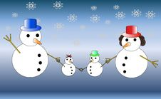 Snowman Familly Stock Images