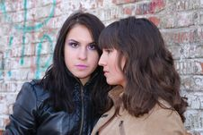 Free Two Brunette Girls Looking At  Different Sides. Stock Photos - 13995203
