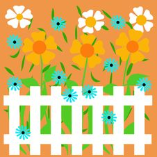 Garden Fence Illustration Royalty Free Stock Photography