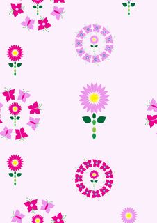 Free Floral Pattern In Pink And Purple Tones Stock Images - 13996514