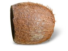Cracked Coconut Isolated Over White Stock Photo