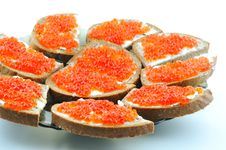Free Sandwich With Red Caviar Royalty Free Stock Image - 13996726