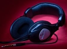 Free Black Headphones On A Red Background Royalty Free Stock Photography - 13996977
