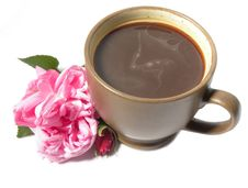 Free A Cup Of Coffee And A Pink Rose Stock Photography - 13997122