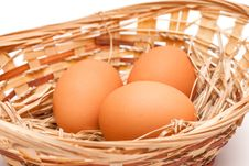 Free Eggs In A Basket Stock Photos - 13997283
