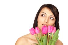 Free Female Holding Tulips Stock Photos - 13997733