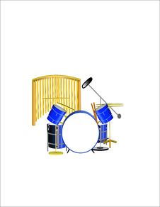Drum Set In 3d Stock Photos