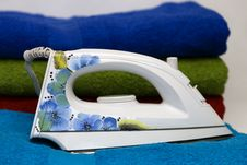 Free Smoothing-iron With A Pattern Of Blue Flowers Stock Photo - 13999290