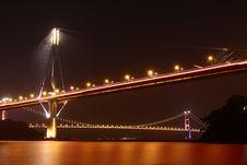 Free Hong Kong Bridge At Night Stock Photo - 13999500