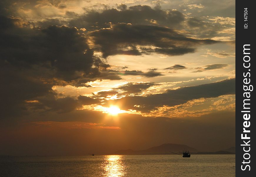 Sunset at sea, East of Thailand