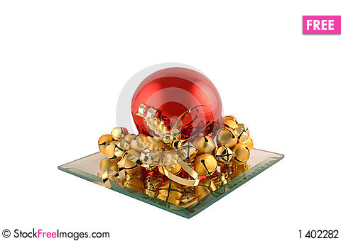 Red Christmas Ball and Bells Stock Photo