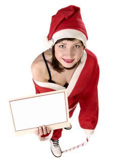 Woman In Santa Fancy Dress Stock Images