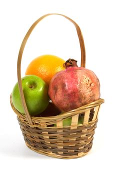 Free Basket With Fruit. Stock Image - 1409491