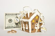 Free House With Ribbon, Money, Wedding Rings Royalty Free Stock Images - 14000729