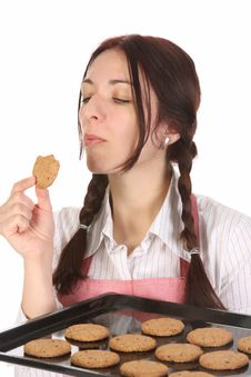 Free Housewife Eating A Slice Of Chocolate Cake Royalty Free Stock Photography - 14001937