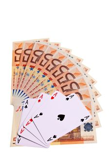 Aces And 50 Euro Banknotes. Royalty Free Stock Photos