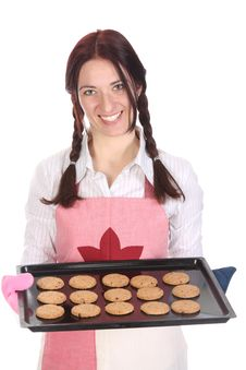 Free Beautiful Housewife Showing Off Cakes Stock Image - 14002141