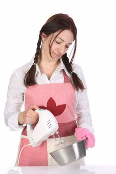 Free Beautiful Housewife Preparing With Kitchen Mixer Royalty Free Stock Photography - 14002337