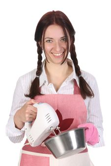 Beautiful Housewife Preparing With Kitchen Mixer Royalty Free Stock Photo