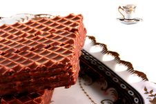 Wafers In Chocolate Royalty Free Stock Photography