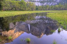 Reflection Of Yosemite Fall Royalty Free Stock Photography