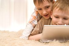 Free Brothers  With Laptop Stock Image - 14004051