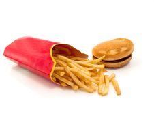 Hot  Fresh French Fries And Hamburger Stock Image