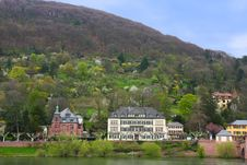 Houses At Neckar Riverbank In Heidelberg Stock Images