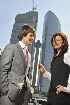 Free Two Businessmen Discuss The Project Against A Skys Stock Image - 14006271