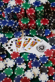 Royal Flush With Chips Royalty Free Stock Photos