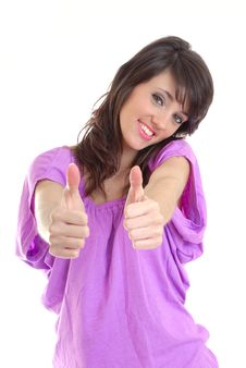 Sexy Young Brunette Thumbs Up Stock Photo