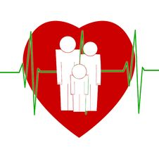 Free Family Sign In Front Of Big Red Heart And Cardiogr Stock Photos - 14007203