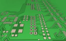 Free PCB, The Printed-circuit-board (3D). Royalty Free Stock Photography - 14007547