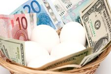 Free Eggs With Money In Basket Closeup Royalty Free Stock Image - 14007766