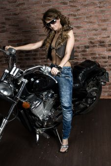 Free Sexy Girl On Motorbike Royalty Free Stock Image - 14008776